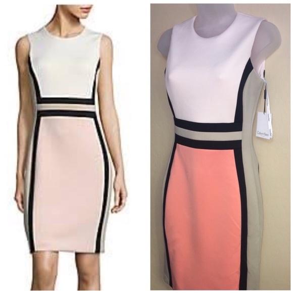 Calvin Klein Dress Block Print PCH Tan Blk WHT NEW NWT